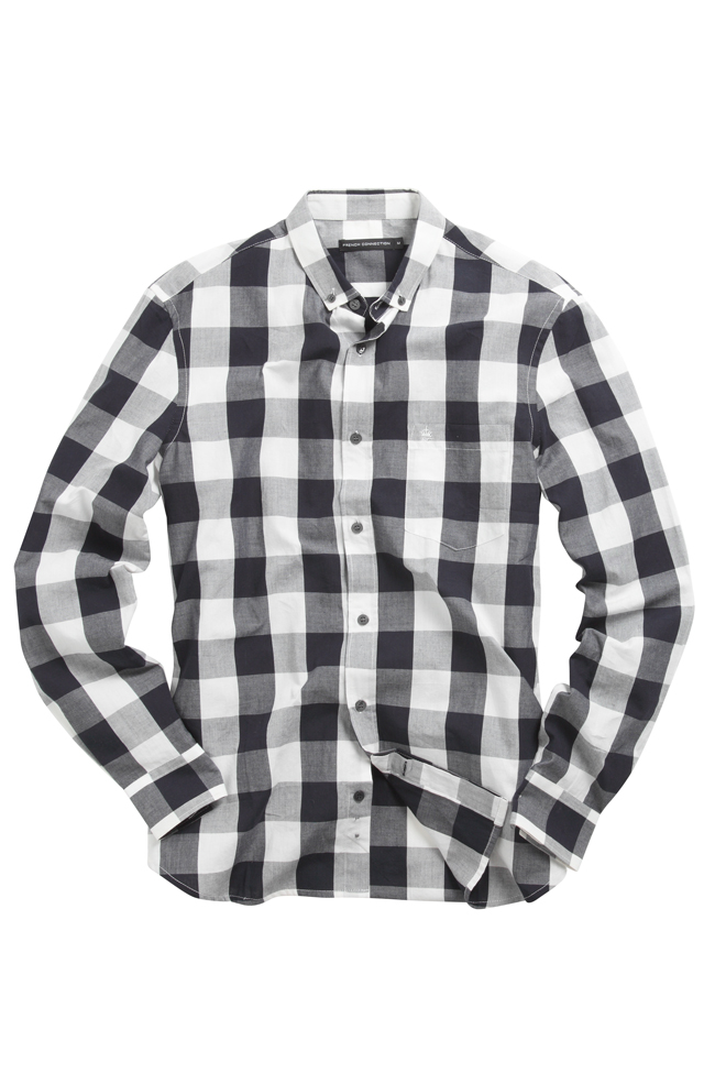New-French-Connection-Cotton-Long-Sleeve-Check-Shirt-Blue