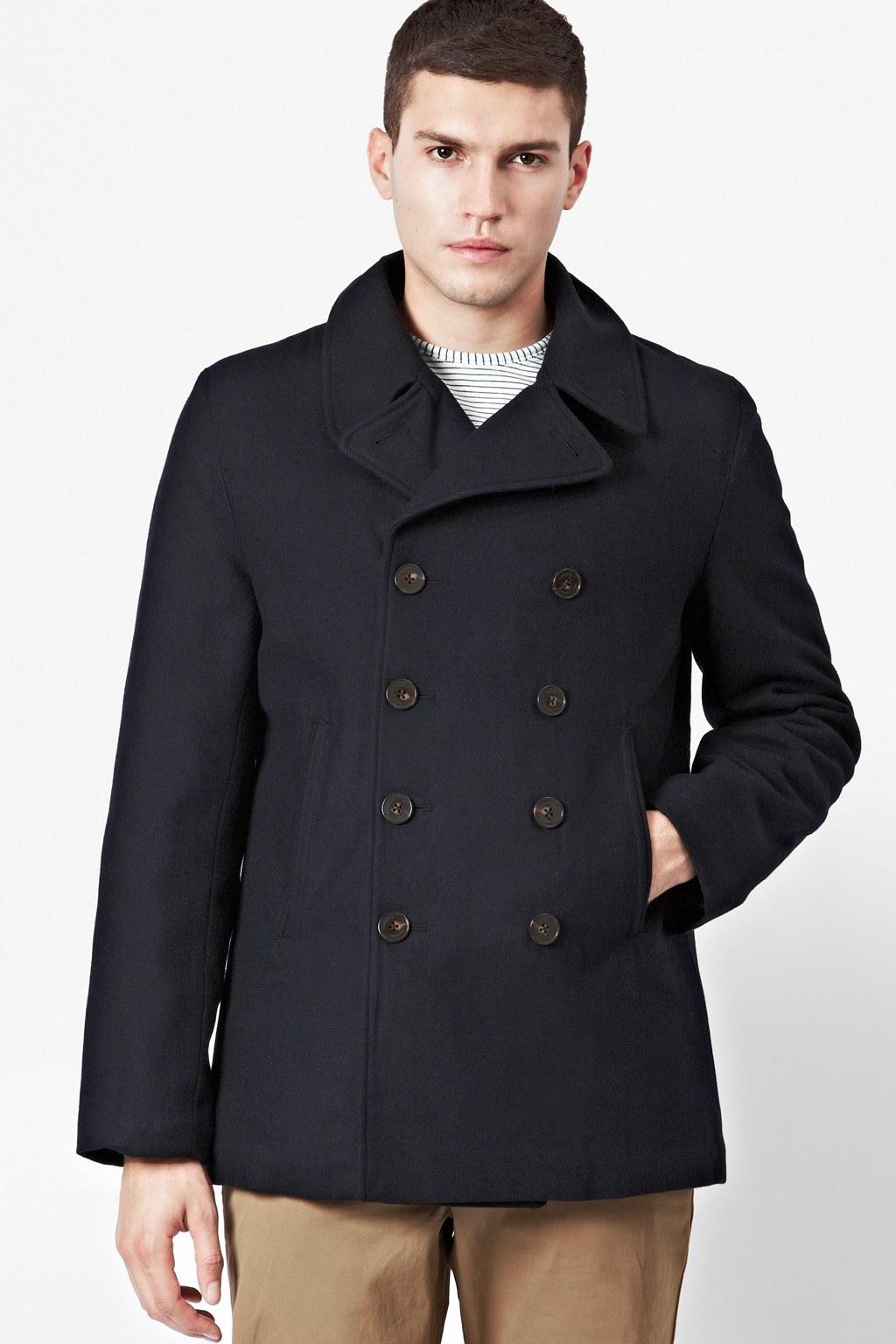Marine Melton Peacoat | Click And Collect