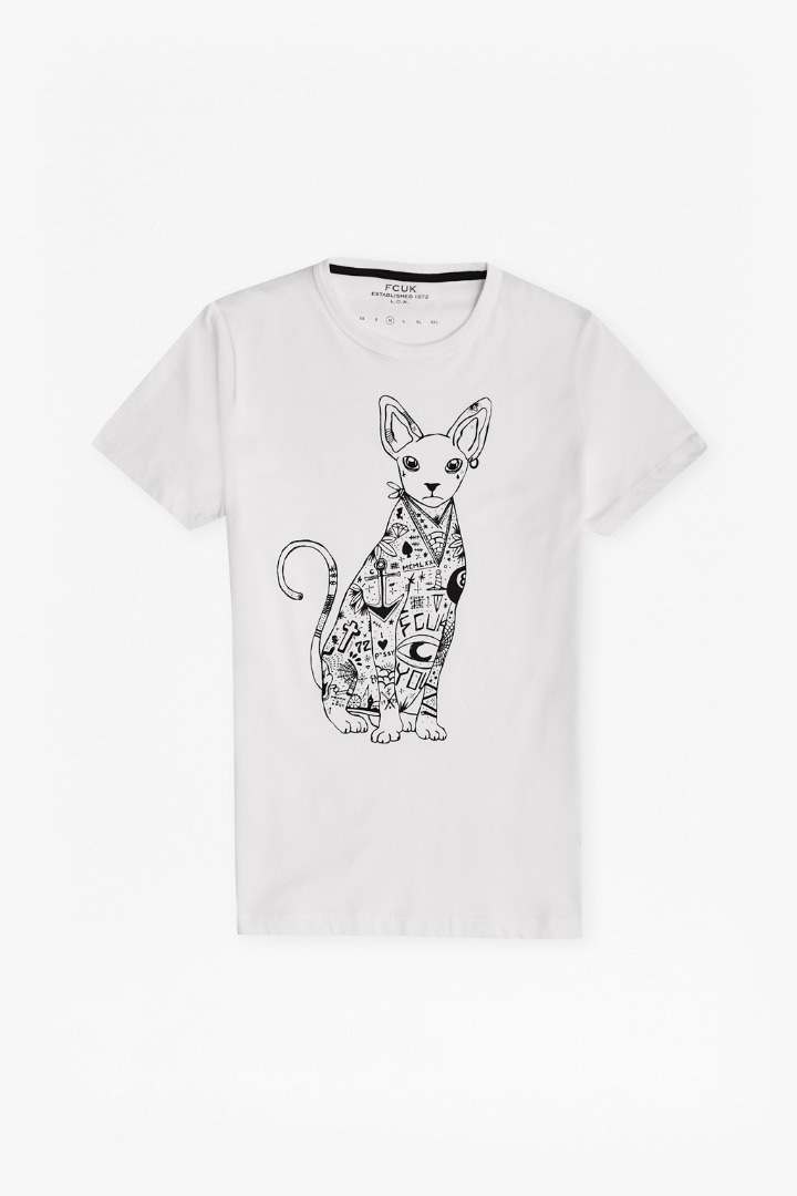 Tattooed siamese cat graphic t shirt sale new in for T shirt graphics for sale