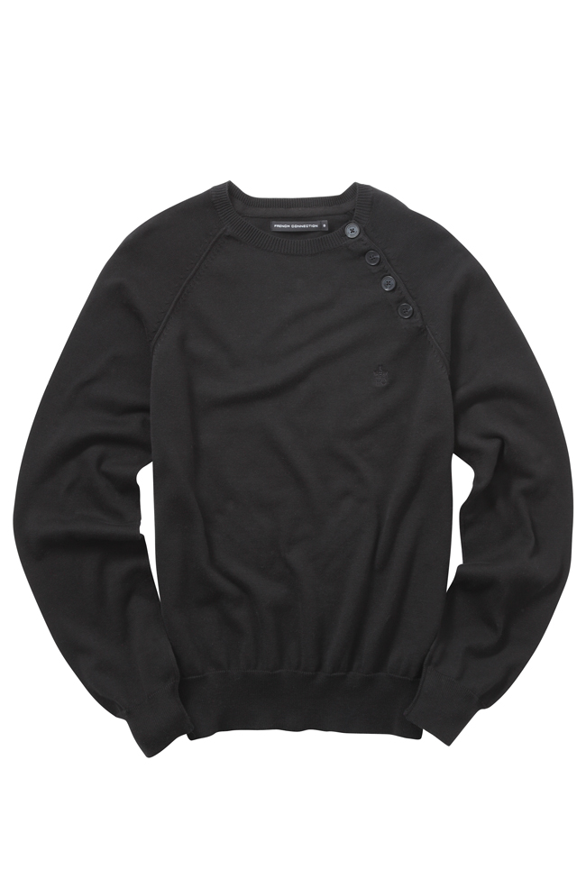 New-French-Connection-Cotton-Knit-Button-Crew-Neck-Jumper-Black-Grey