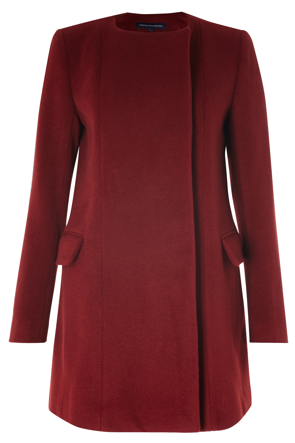 New-French-Connection-Wool-Collarless-Coat-Red
