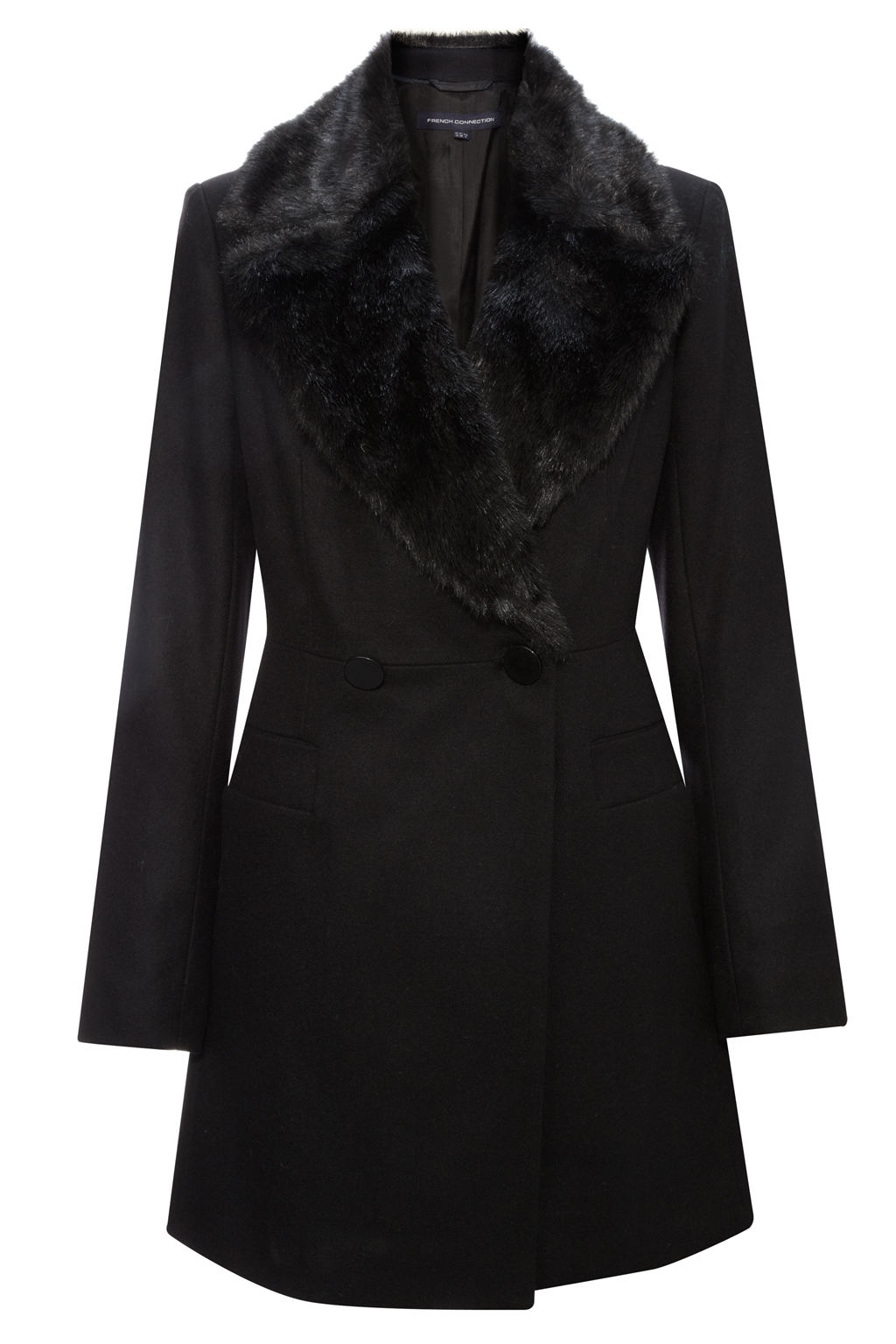 New-French-Connection-Wool-Fur-Collar-Coat-Black