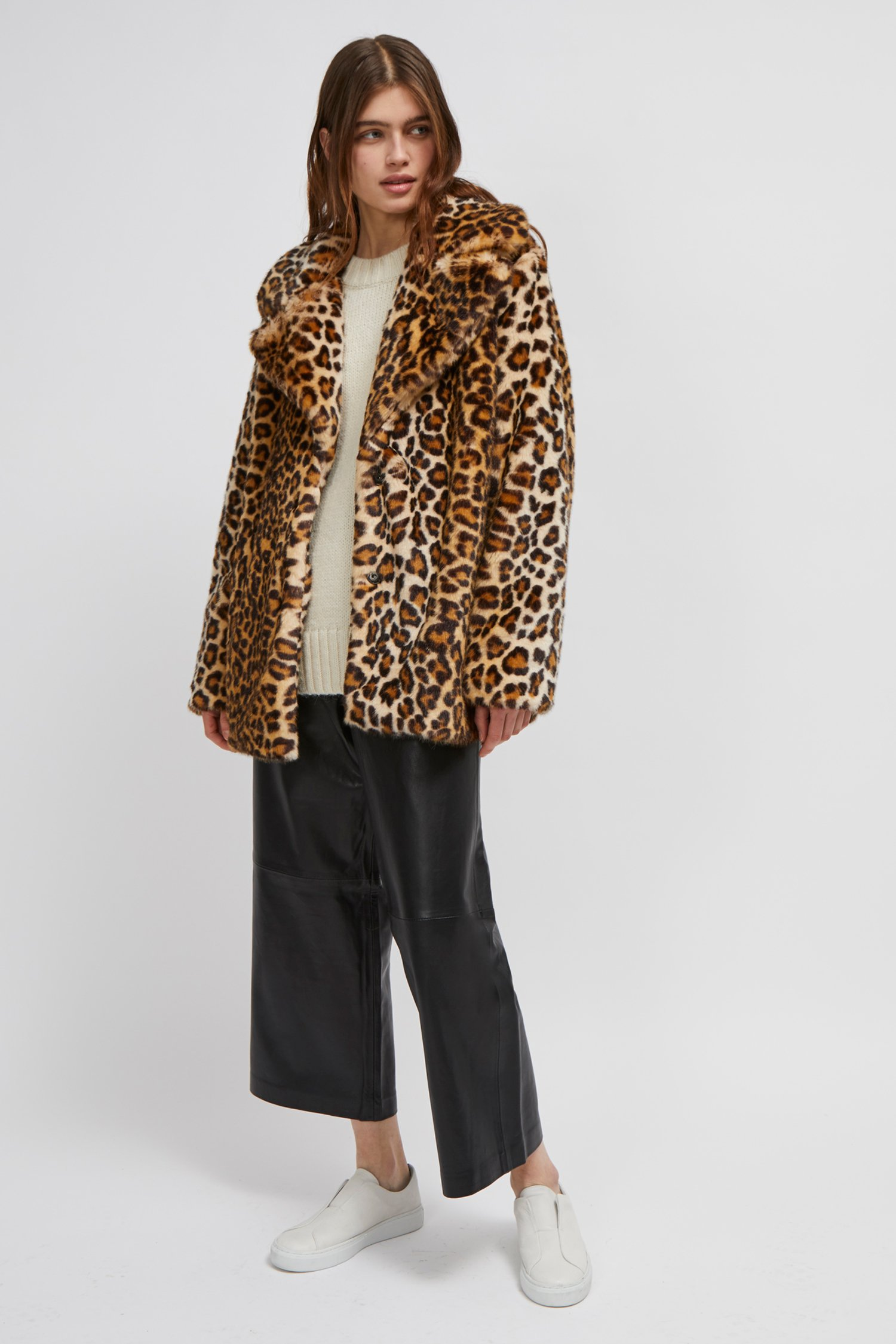 Leopard Print Faux Fur Coat Collections French Connection