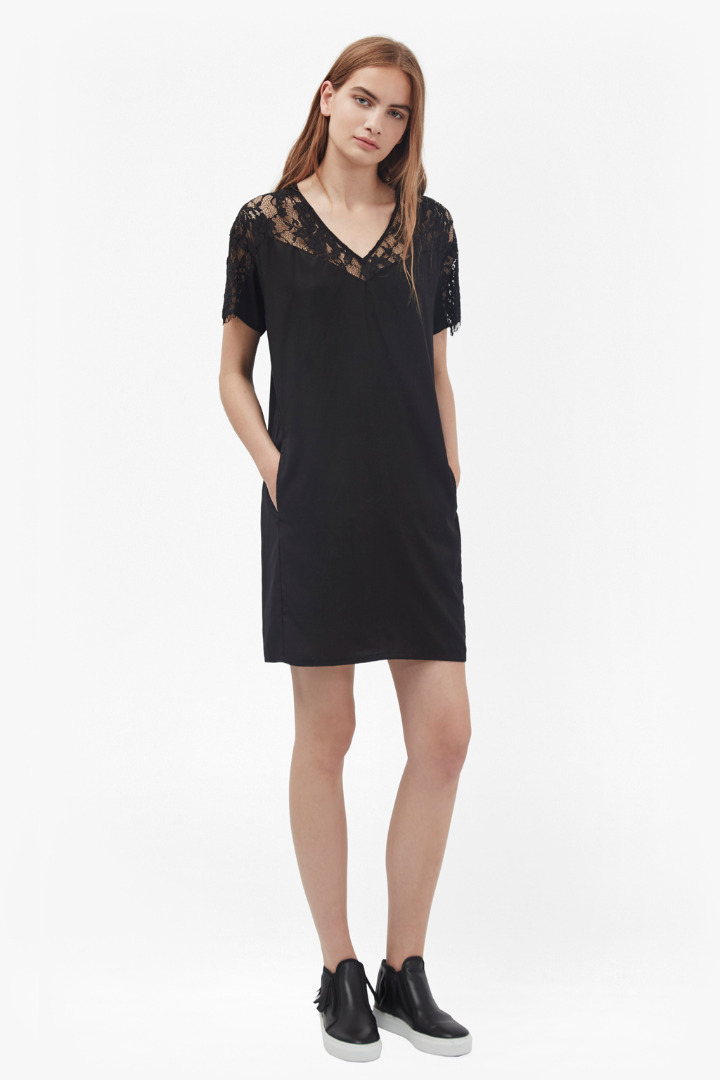 Midnight tencel lace t shirt dress dresses french for French connection shirt dress