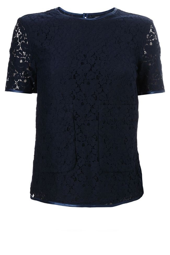 New-French-Connection-Lace-Pocket-Top-White-Blue