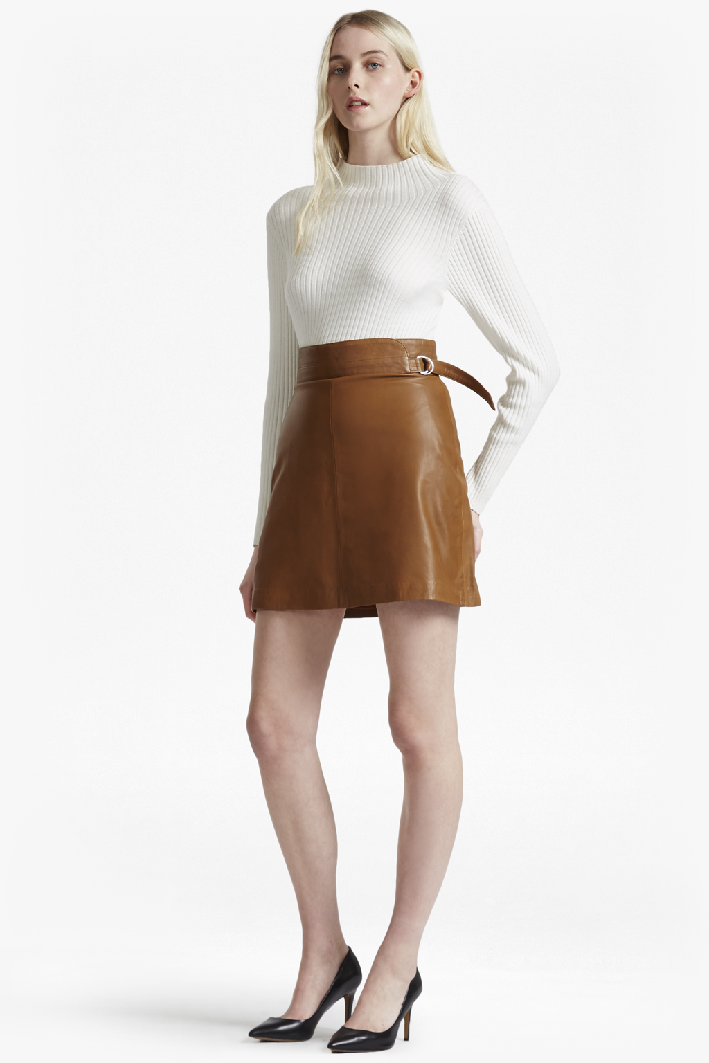 Goldenberg A Line Leather Skirt New Arrivals French