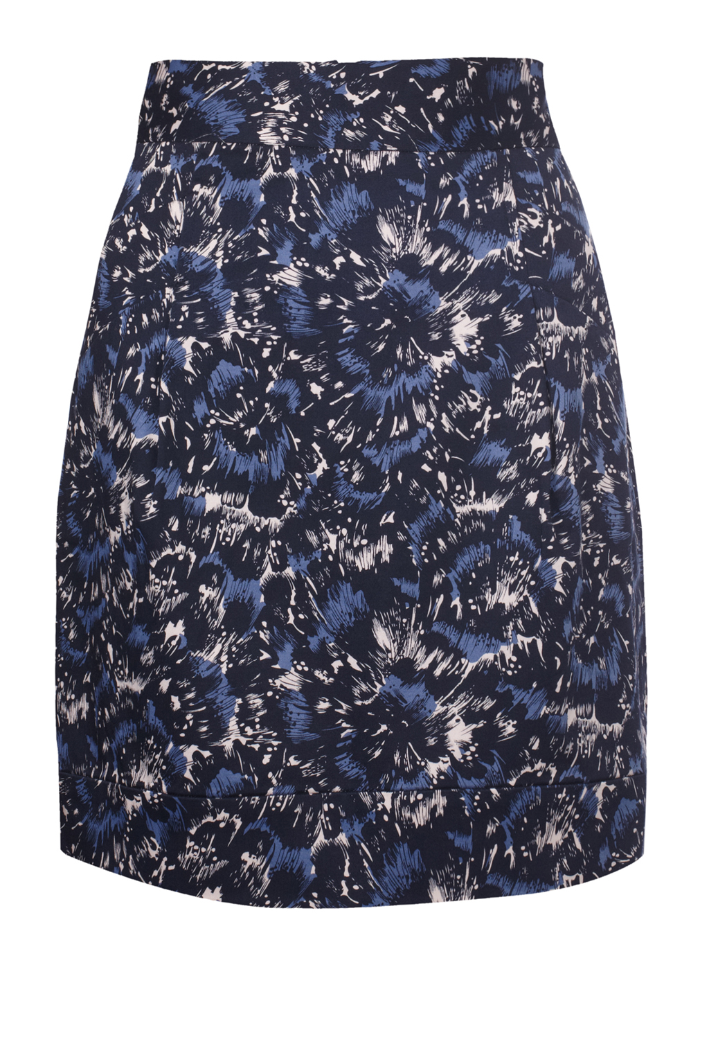 new connection high waisted cotton print skirt blue