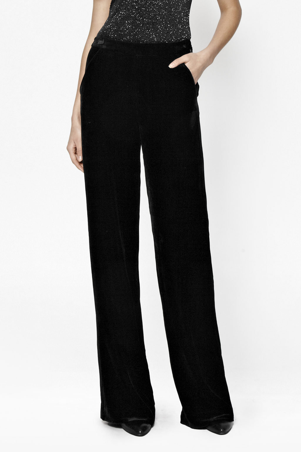 Jet Velvet Palazzo Trousers Collections French Connection