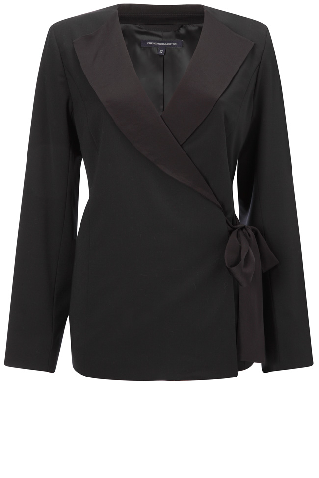 New-French-Connection-Collarless-Wrap-Over-Jacket-Black