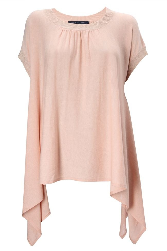 New-French-Connection-Tencel-and-Cotton-Knits-Drape-Jumper-Pink