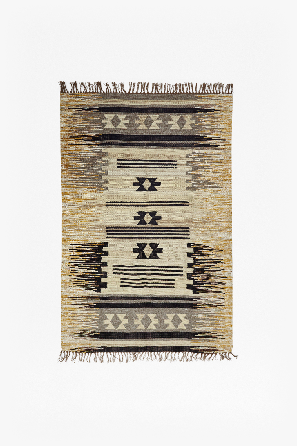 Ochre Amp Grey Striped Aztec Rug Rugs And Runners French